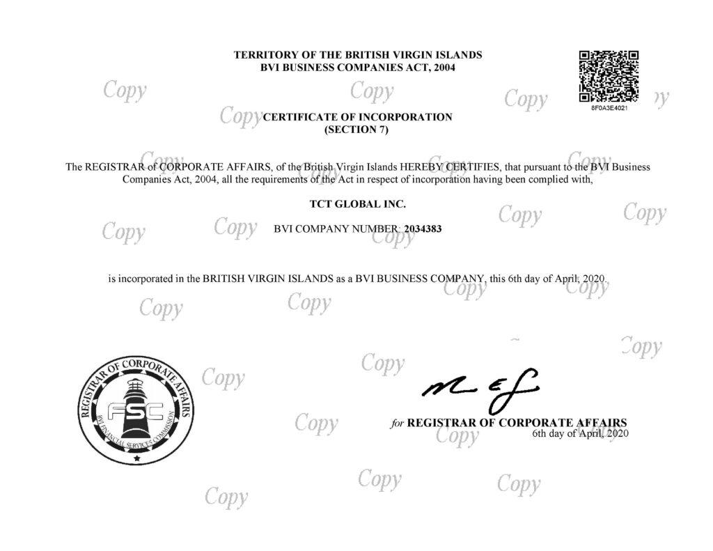 Copy of License for TCT Global Inc. https://bvifsc.vg/
